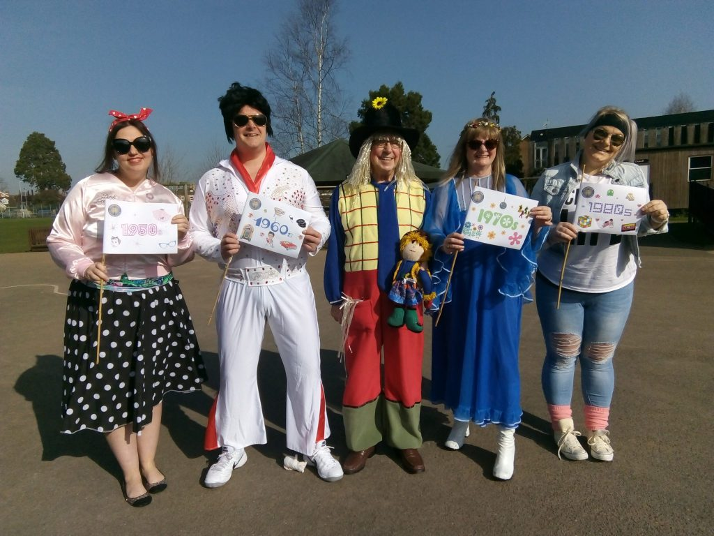 Archies Friends from Reminiscence Learning with this year's entry for Team with a Theme - costumes through the decades.