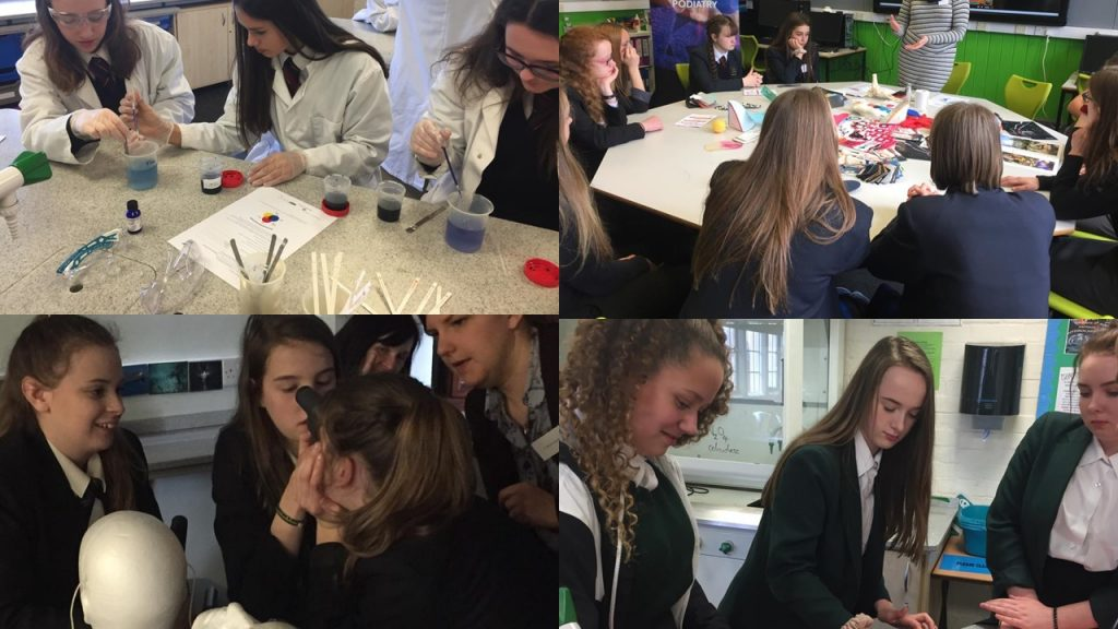 Year 9 girls from local schools across Somerset enjoying interactive workshops on our STEM Skirting Science Day at Taunton School.